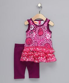 Take a look at this Hot Pink Bloom Tunic & Leggings - Infant, Toddler & Girls by Sweet Potatoes on #zulily today!