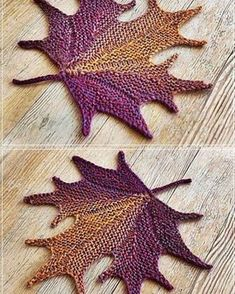 7e4d60d53cd0 Decorative knitted maple Leaf by Svetlana Gordon. Pattern available for  purchase at Ravelry.