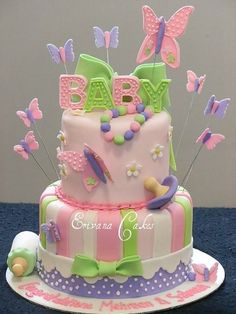 Beautiful butterflly baby showers   We found this beautiful butterfly baby shower cake and think it would ...