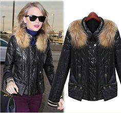Women's Black Warm Fur Coat,Short Women Trench Coat, Thin Body, Raccoon Collars, Cotton-Padded Clothes,Fashion Women's Clothing Size (CM):S M L XL XXL  S:clothes length (CM): 49,Chest (CM): 90,Shoulder breadth(CM) 35,Sleeve (CM): 61,  M:clothes length (CM): 50,Chest (CM): 94,Shoulder breadth(CM) 36,Sleeve (CM): 62,  L:clothes length (CM): 51,Chest (CM): 98,Shoulder breadth(CM) 37,Sleeve length (CM): 63,  XL:clothe...
