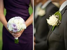 Lovely bouquet with lavender roses interspersed with white