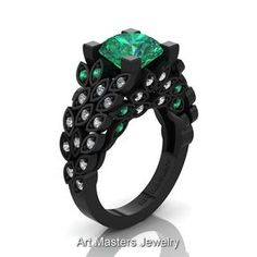 Nature Inspired 14K Black Gold 3.0 Ct Emerald by artmasters
