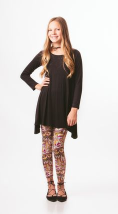 High-low tunic with paisley leggings.