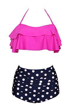 4eba011c686 New Dellukee Women's Retro Ruffle High Waist Two Piece Bikini Set Fashion  Flounce Swimsuits Bathing Suit