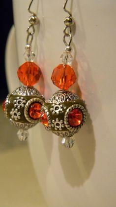 Handmade Tibetan dZi Beads with Red Inlaid by TheBumbleBeadCompany