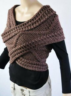 Hand knit sweater, Cross Sweater, Capelet and Neck warmer in Mocha