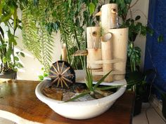 Feel free to check out my exquisite collection of DIY Easy Bamboo Crafts That You Will Have To See and try to incorporate Bamboo Water Fountain, Backyard Water Fountains, Tabletop Water Fountain, Diy Fountain, Small Fountains, Indoor Fountain, Bamboo Crafts, Concrete Crafts, Feng Shui