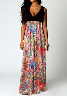 Red Patchwork Floral Print Plunging Neckline Sleeveless Maxi Dress