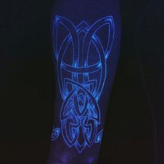 Guys Tribal Tattoo Under Black Light With Glow In The Dark Ink