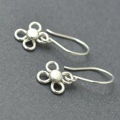 Sterling Silver Dangle Earrings Flower Earrings, Handmade Wire Earrings, by SexySirenDesigns on Etsy