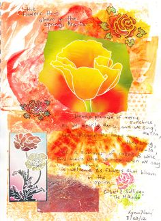 """""""Poppies"""": monoprint, collage, stencil, rubber stamps,, white and black pens"""