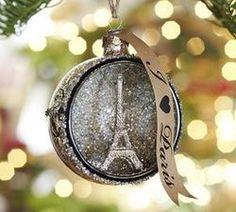 Paris Orb Glitter Eiffel Tower Glass Ornament