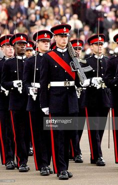 HRH Prince William (centre) takes part in the Sovereign's Parade at the Royal Military Academy Sandhurst on December 15, 2006.