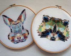 Geometric Bunny Counted Modern Cross Stitch by VelvetPonyDesign