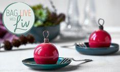 Risalamande julekugler   Bag Live med Liv Martine opskrift   Dr. Oetker Lidl, Crunches, Dessert Recipes, Desserts, Twists, Parfait, Christmas Bulbs, Pudding, Banana