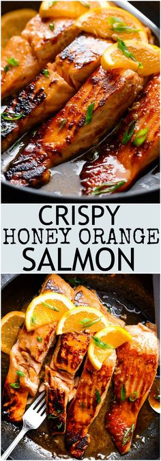 Crispy Honey Orange Glazed Salmon fillets are pan-fried in the most beautiful honey-orange-garlic sauce, with a splash of soy for added flavour! Crispy Honey Orange Glazed Salmon - CUCINA DE YUNG George B. Grillakademie Crispy Honey Orange G Salmon Dishes, Seafood Dishes, Salmon Food, Salmon Meals, Sauce For Salmon, Salmon Marinade, Salmon Pizza, Salmon Skin, Seafood Platter