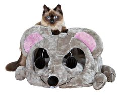 Mouse bed with toy eyes
