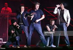 Nick Carter, Kevin Richardson, Brian Littrell, Howie Dorough, and AJ McLean of the Backstreet Boys perform during their HOZ2006 concert at the Capital Gym on January 16, 2006 in Beijing, China.