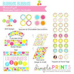 Bubbles Bubbles Girl Printable Party Package - Dimple Prints Shop
