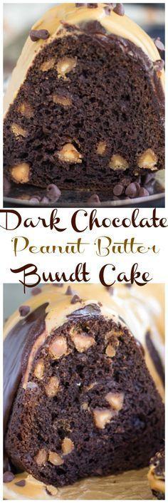 Dark Chocolate Peanut Butter Bundt Cake pin 1