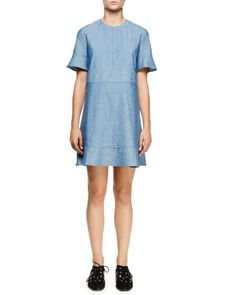 Short-Sleeve+Chambray+Dress,+Blue+by+Proenza+Schouler+at+Neiman+Marcus.