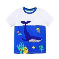 59a9054a92a loomrack Boys 100% Cotton Summer T-Shirts Blue Whale Pattern Baby Boy Tops
