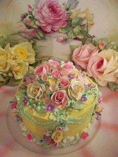 love the rose Gorgeous Cakes, Pretty Cakes, Amazing Cakes, Fancy Cakes, Mini Cakes, Cupcake Cakes, Bolo Floral, Floral Cake, Victorian Cakes