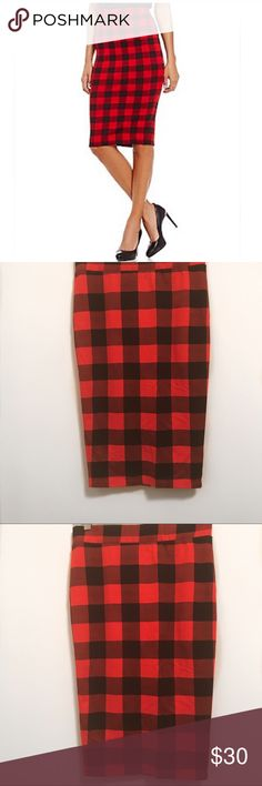 """Gianni Bini Red & Black Check Pencil Skirt-M NWOT Super cute pencil skirt- size M.   Worn ONcE - Like NEW! Fabric is medium thick with a good amount of stretch. Pull-on no buttons,  or zipper. 70% rayon, 24% nylon and 6% spandex.  📍in EUC - wore once for an hour   Measurements laying flat  Waist-14"""" Length-26"""" Gianni Bini Skirts Pencil"""