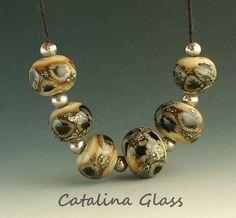 "Love this ""earthy"" set of handmade lampwork glass beads!"