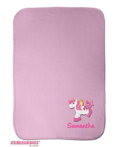 Custom #UNICORN #Monogram Baby #Blanket Layette Baby Shower Gift Thermal Blanket Personalized Pink by BubblegumJR