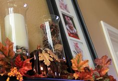 Fall Decorations, fun photo idea with your kids dressed in favorite football team colors to put on mantle (could change pictures out for different seasons...using Pinterest found frame and clip idea)