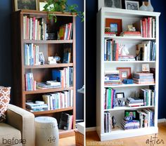 Before and After Bookcase Styling