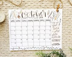 Check out this October calendar on Etsy! 🍂🌻