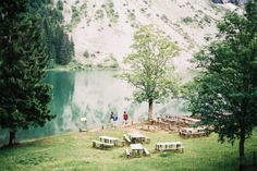 picnic tables + lake