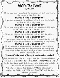 "What's the point of kindergarten? Printable Dr. Jean poem: ""What's The Point?"""