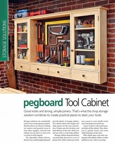 Wall Tool Cabinet Plans - Workshop Solutions Plans, Tips and Tricks - Woodwork, Woodworking, Woodworking Plans, Woodworking Projects Workshop Storage, Workshop Organization, Garage Workshop, Workbench Organization, Workshop Ideas, Garage Storage Racks, Tool Storage, Storage Ideas, Cabinet Storage