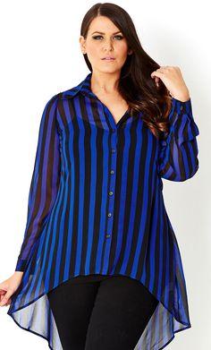 CITY CHIC - SHIRT BLUE STRIPE  - Women's plus size fashion