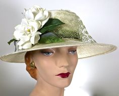 Womens Ivory Straw Hat Kentucky Derby Hat by MakowskyMillinery