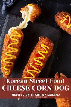 Hot Dog Recipes, Pork Recipes, Cooking Recipes, Korean Recipes, Korean Hot Dog Recipe, Cheese Corn Dog Recipe, Corndog Recipe, Appetizer Sandwiches, Essen