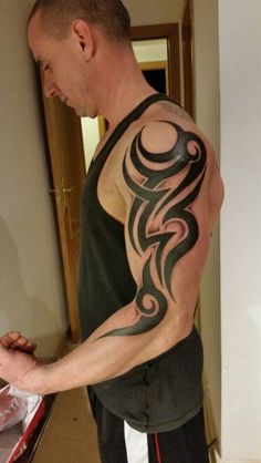 Designed and inked by Gabe David - Tribal tattoo. Designed and inked by Gabe David - Trible Tattoos, Tribal Band Tattoo, Tribal Phoenix Tattoo, Forearm Band Tattoos, Tribal Shoulder Tattoos, Tribal Tattoos For Men, Arm Tattoos For Guys, Body Art Tattoos, Puzzle Tattoos