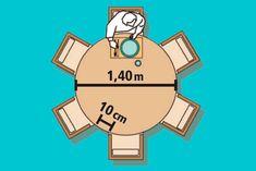 Medidas para MESA REDONDA 6 lugares - Atenção ao pé da mesa redonda: o ideal é que seja centralizado e não muito espesso, ficando livres 45 cm até ele para cada usuário.
