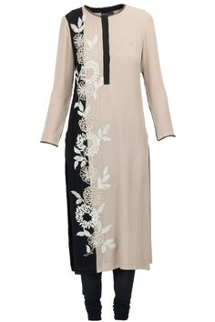 Sand and black embroidered garden side kurta set available only at Pernia's Pop-Up Shop