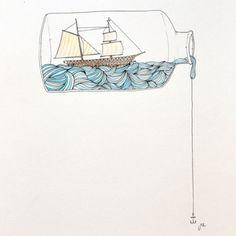 hms-surprise:Ship in a bottle.