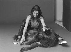 Actress Kristen Stewart with Her Wolf-Dog Hybrid