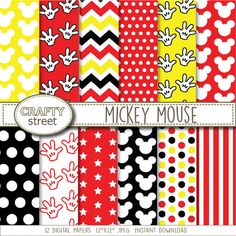 mickey mouse inspired digital paper, scrapbooking paper, kid's paper, patterned background, Disney birthday party, mickey, polka dots
