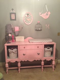 I wanted to create a very girly pink and grey nursery on a budget.
