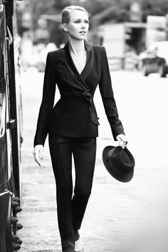 Must Try: PANTSUITS! details like this tie front jacket add interest to black suiting