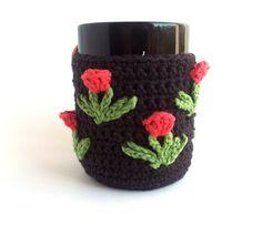 Crochet Coffee Mug Cozy with Pink Tulips Coffee by ProchetByEAS, $25.00