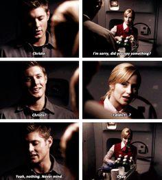 "[gifset] If she's possessed, she'll flinch at the name of God. Say it in Latin. In Latin, it's ""Christo"". 1x04 Phantom Traveler #SPN #Dean"