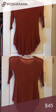 Burnt Orange FP Top *NEVER WORN* No tags, just trying to get the money I spent on it back! Loose fabrics at the bottom, but that is how it originally is. Free People Tops